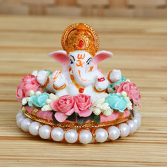 MSGG615-eCraftIndia-Lord-Ganesha-Idol-on-Decorative-Handcrafted-Plate-with-Colorful-Flowers_1