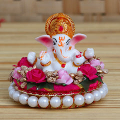 MSGG616-eCraftIndia-Lord-Ganesha-Idol-on-Decorative-Handcrafted-Plate-with-Colorful-Flowers_1