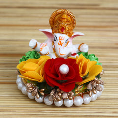 MSGG617-eCraftIndia-Lord-Ganesha-Idol-on-Decorative-Handcrafted-Plate-with-Colorful-Flowers_1