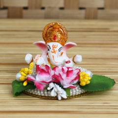 MSGG618-eCraftIndia-Lord-Ganesha-Idol-on-Decorative-Handcrafted-Plate-with-Colorful-Flowers-and-Leaf_1