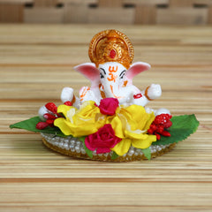 MSGG619-eCraftIndia-Lord-Ganesha-Idol-on-Decorative-Handcrafted-Plate-with-Colorful-Flowers-and-Leaf_1