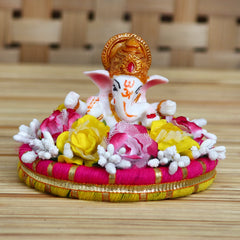 MSGG620-eCraftIndia-Lord-Ganesha-Idol-on-Decorative-Handcrafted-Plate-with-Colorful-Flowers_1