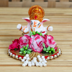 MSGG621-eCraftIndia-Lord-Ganesha-Idol-on-Decorative-Handcrafted-Plate-with-Colorful-Flowers_1