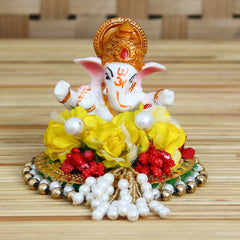 MSGG622-eCraftIndia-Lord-Ganesha-Idol-on-Decorative-Handcrafted-Plate-with-Colorful-Flowers_1