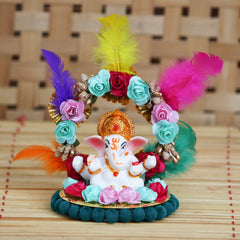 MSGG623-eCraftIndia-Lord-Ganesha-Idol-on-Decorative-Handcrafted-Plate-with-Throne-of-Colorful-Flowers-and-Feathers_1