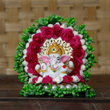 ecraftindia-lord-ganesha-idol-on-decorative-handcrafted-green-floral-plate-for-home-and-car_2