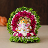 ecraftindia-lord-ganesha-idol-on-decorative-handcrafted-green-floral-plate-for-home-and-car_1