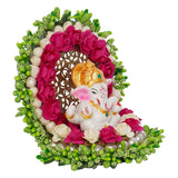 ecraftindia-lord-ganesha-idol-on-decorative-handcrafted-green-floral-plate-for-home-and-car_3