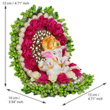 ecraftindia-lord-ganesha-idol-on-decorative-handcrafted-green-floral-plate-for-home-and-car_4