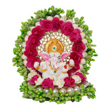 ecraftindia-lord-ganesha-idol-on-decorative-handcrafted-green-floral-plate-for-home-and-car_5