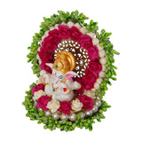 ecraftindia-lord-ganesha-idol-on-decorative-handcrafted-green-floral-plate-for-home-and-car_6