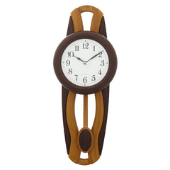 PCCW757_COLA-eCraftIndia-Brown-Round-Wooden-Pendulum-Wall-Clock_1
