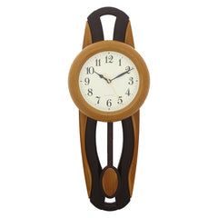 PCCW757_YELLOW-eCraftIndia-Yellow-Round-Wooden-Pendulum-Wall-Clock_1