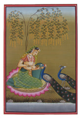 PPAP012-eCraftIndia-Mughal-Queen-with-Peacocks-Original-Art-Paper-Painting_1