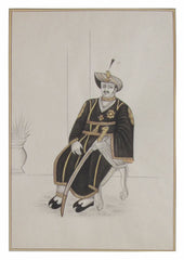 PPAP043-eCraftIndia-Nawab-with-Sword-on-Throne-Original-Art-Paper-Painting_1