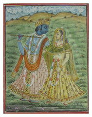 PPAP064-eCraftIndia-Krishna-Playing-Flute-with-Radha-Original-Art-Paper-Painting_1