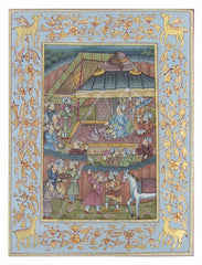 PSILK003-eCraftIndia-Regional-Courts-in-Mughal-India-Original-Art-Silk-Painting_1