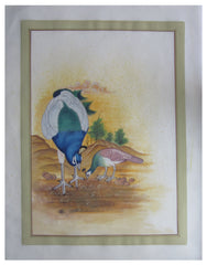 PSILK004-eCraftIndia-Miniature-Peacock's-Peahen-Original-Art-Silk-Painting_1