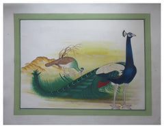 PSILK006-eCraftIndia-Miniature-Peacocks-Original-Art-Silk-Painting_1