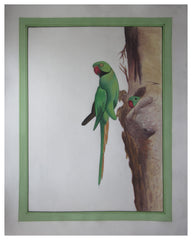 PSILK010-eCraftIndia-Miniature-Green-Parrots-Original-Art-Silk-Painting_1