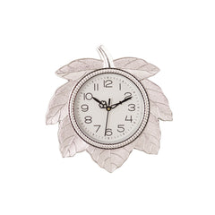 ecraftindia-leaf-shape-retro-silver-wall-clock_1