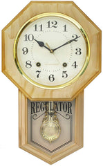 "PWCK727_AMD-eCraftIndia-Golden-Plastic-Vertical-Analog-Pendulum-Wall-Clock-(10.5""-x-17.5""-Inch-