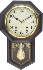"PWCK727_COLA-eCraftIndia-Brown-Plastic-Vertical-Analog-Pendulum-Wall-Clock-(10.5""-x-17.5""-Inch-