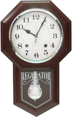 "PWCK727_ROSE_WOOD-eCraftIndia-Brown-Plastic-Vertical-Analog-Pendulum-Wall-Clock-(10.5""-x-17.5""-Inch-