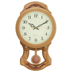 "PWCK737_AMD-eCraftIndia-Round-White-Dial-Brown-Pendulum-Plastic-Wall-Clock-(10""-x-17""-Inch-
