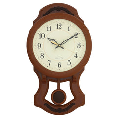 "PWCK737_GB-eCraftIndia-Round-White-Dial-Brown-Pendulum-Plastic-Wall-Clock-(10""-x-17""-Inch-
