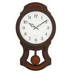 "PWCK737_RW-eCraftIndia-Round-White-Dial-Brown-Pendulum-Plastic-Wall-Clock-(10""-x-17""-Inch-