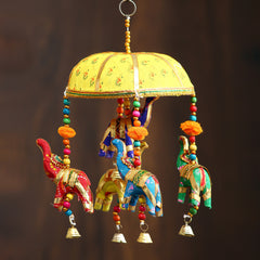 STRELE501--eCraftIndia-Handcrafted-Decorative-Elephant-Wall/Door/Window-Hanging-Bells_1