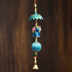STRELE504--eCraftIndia-Handcrafted-Decorative-Elephant-Wall/Door/Window-Hanging-Bells_1