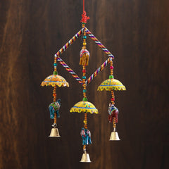 STRELE505--eCraftIndia-Handcrafted-Decorative-Elephant-with-Chatri-Wall/Door/Window-Hanging-Bells_1