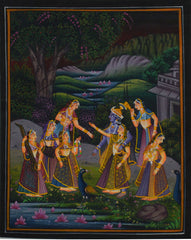 SUN014-eCraftIndia-Radha-Krishna-Treated-by-Sevikas-Original-Art-Silk-Painting_1