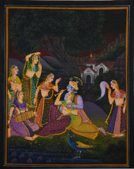 SUN015-eCraftIndia-Radha-Krishna-Playing-Bansuri-Original-Art-Silk-Painting_1