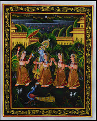 SUN057-eCraftIndia-Radha-Krishna-Playing-Bansuri-with-Gopis-Original-Art-Silk-Painting_1