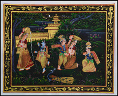 SUN059-eCraftIndia-Krishna-Eating-Makhan-Original-Art-Silk-Painting_1