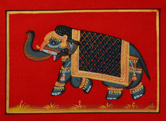 SUN095-eCraftIndia-Decorated-Royal-Elephant-Original-Art-Silk-Painting_1
