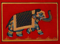 SUN096-eCraftIndia-Decorated-Royal-Elephant-on-Original-Art-Silk-Painting_1