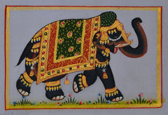 SUN098-eCraftIndia-Royal-Elephant-decorated-with-Gold-Ornaments-Original-Art-Silk-Painting_1