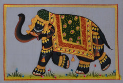 SUN099-eCraftIndia-Royal-Elephant-decorated-with-Gold-Ornaments-on-Canvas-Original-Art-Silk-Painting_1