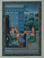 SUN108-eCraftIndia-Royal-Couple-Romantic-Scene-Original-Art-Silk-Painting_1
