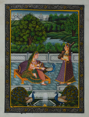 SUN109-eCraftIndia-Queen-Playing-with-Peacocks-Original-Art-Silk-Painting_1