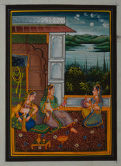 SUN110-eCraftIndia-Queen-Entertained-by-Sevikas-Original-Art-Silk-Painting_1