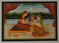 SUN111-eCraftIndia-Queen-admiring-self-in-Mirror-Original-Art-Silk-Painting_1
