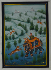 SUN112-eCraftIndia-King-Hunting-in-Jungle-Original-Art-Silk-Painting_1