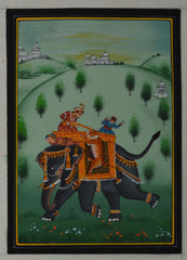 SUN113-eCraftIndia-King-Hunting-Tiger-with-Sainik-Original-Art-Silk-Painting_1