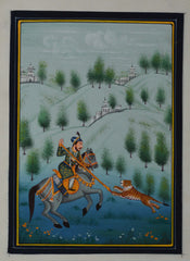 SUN114-eCraftIndia-King-Hunting-Tiger-Original-Art-Silk-Painting_1