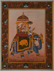 SUN115-eCraftIndia-Queen-on-Royal-Elephant-Original-Art-Silk-Painting_1